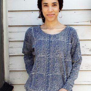Dotted Blue Fleece Sweater